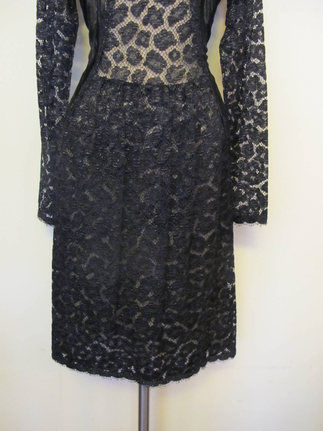 Geoffrey Beene Black Lace Cocktail Dress with Leopard Design 7