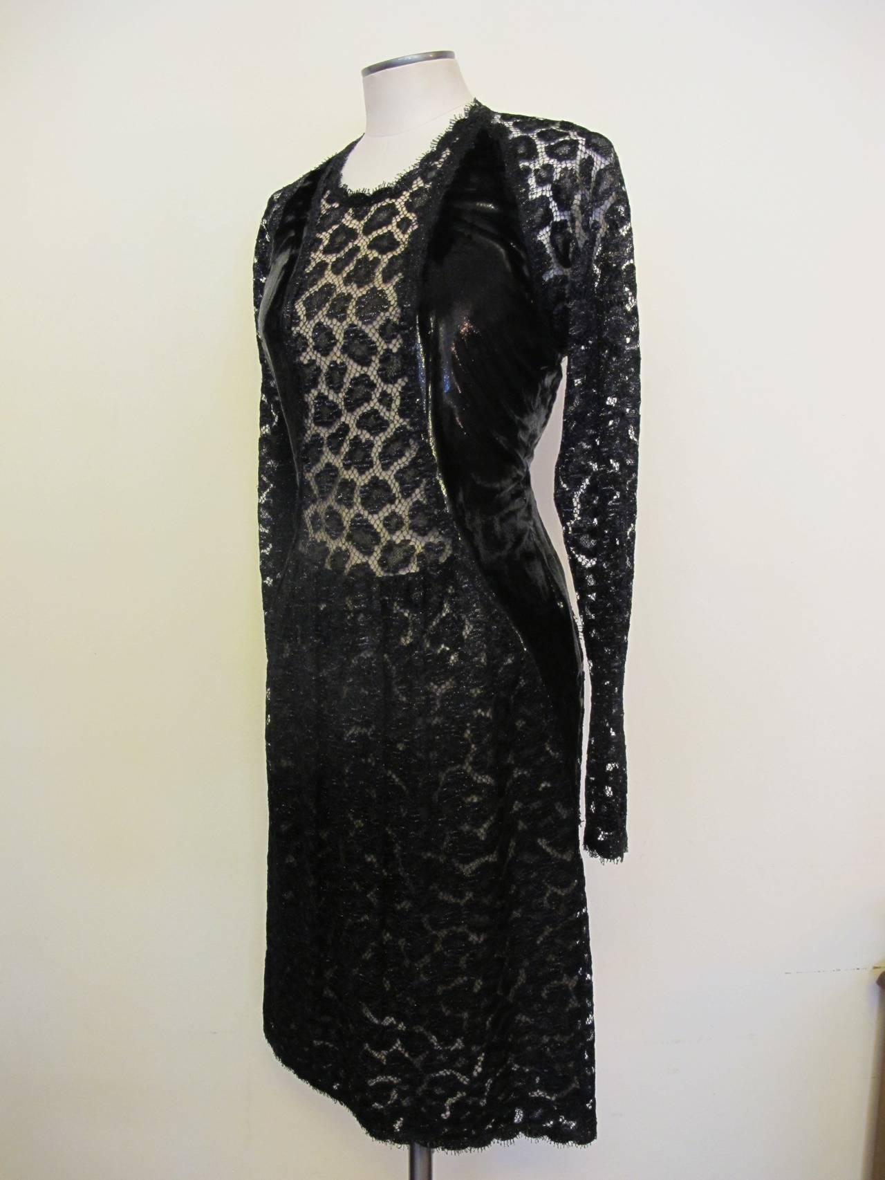 Geoffrey Beene Black Lace Cocktail Dress with Leopard Design 3