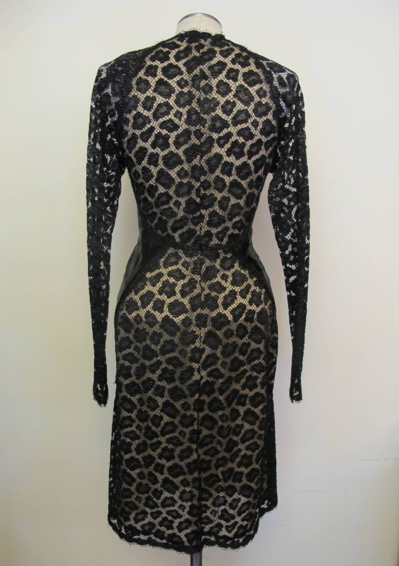 Geoffrey Beene Black Lace Cocktail Dress with Leopard Design 5