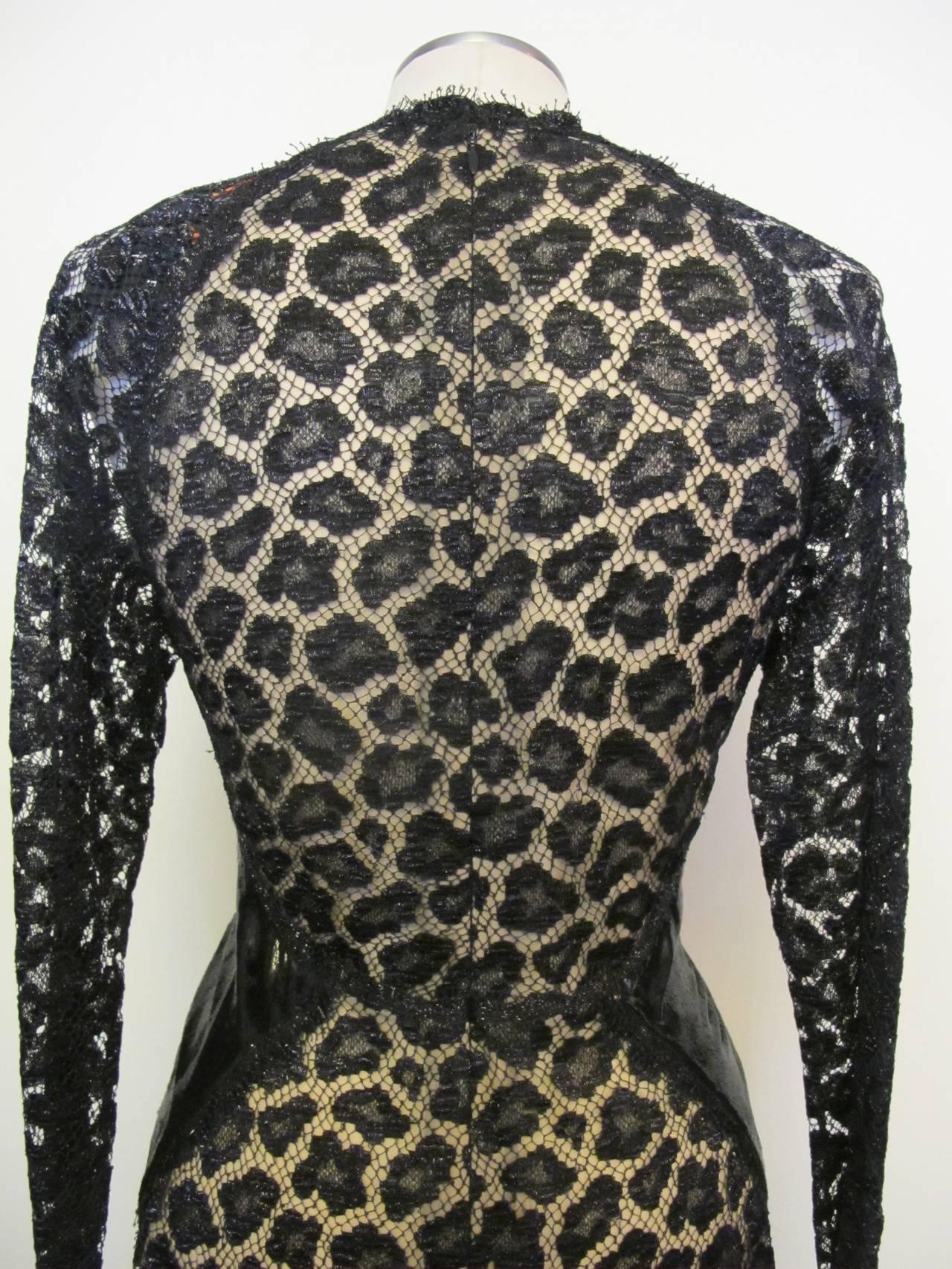Geoffrey Beene Black Lace Cocktail Dress with Leopard Design 8