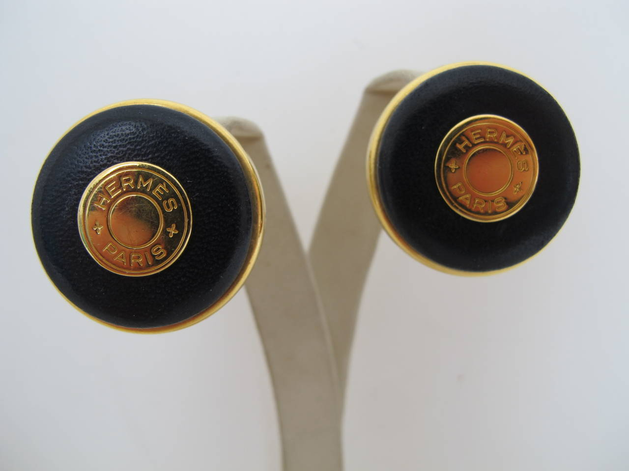 Hermes Rare Vintage Navy Blue Clip-on Earrings with Logo 2