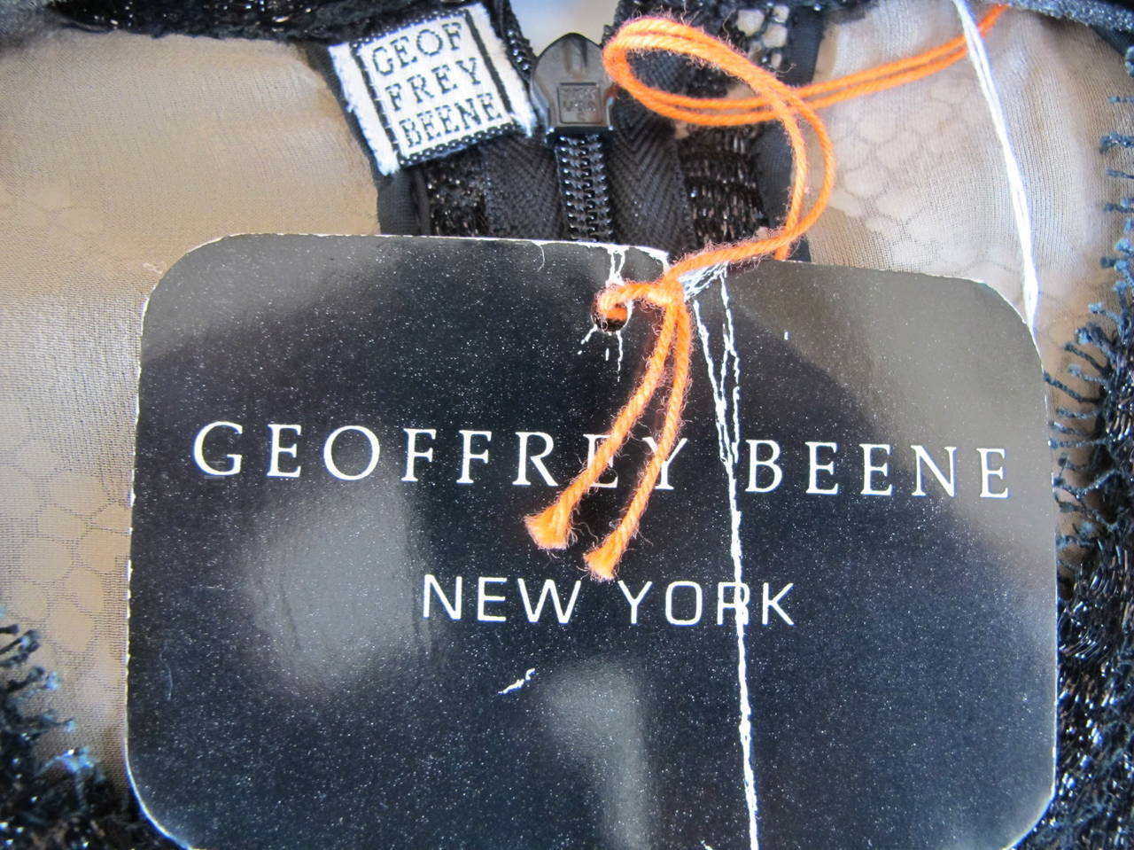 Geoffrey Beene Black Lace Cocktail Dress with Leopard Design 9