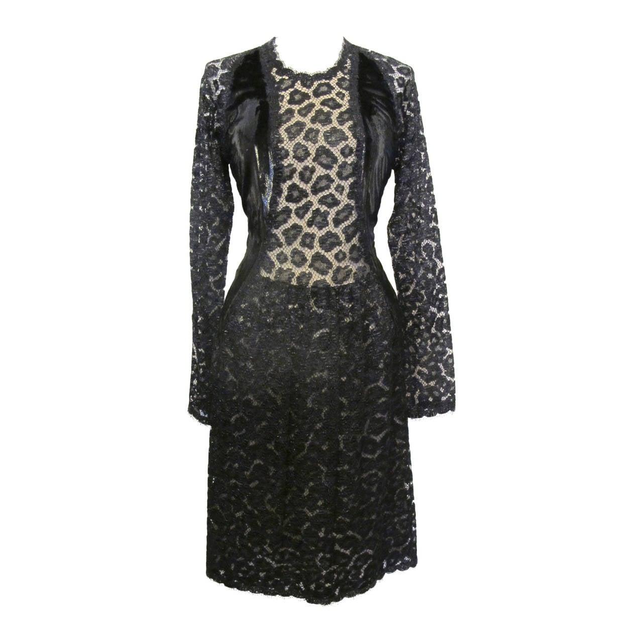 Geoffrey Beene Black Lace Cocktail Dress with Leopard Design 1