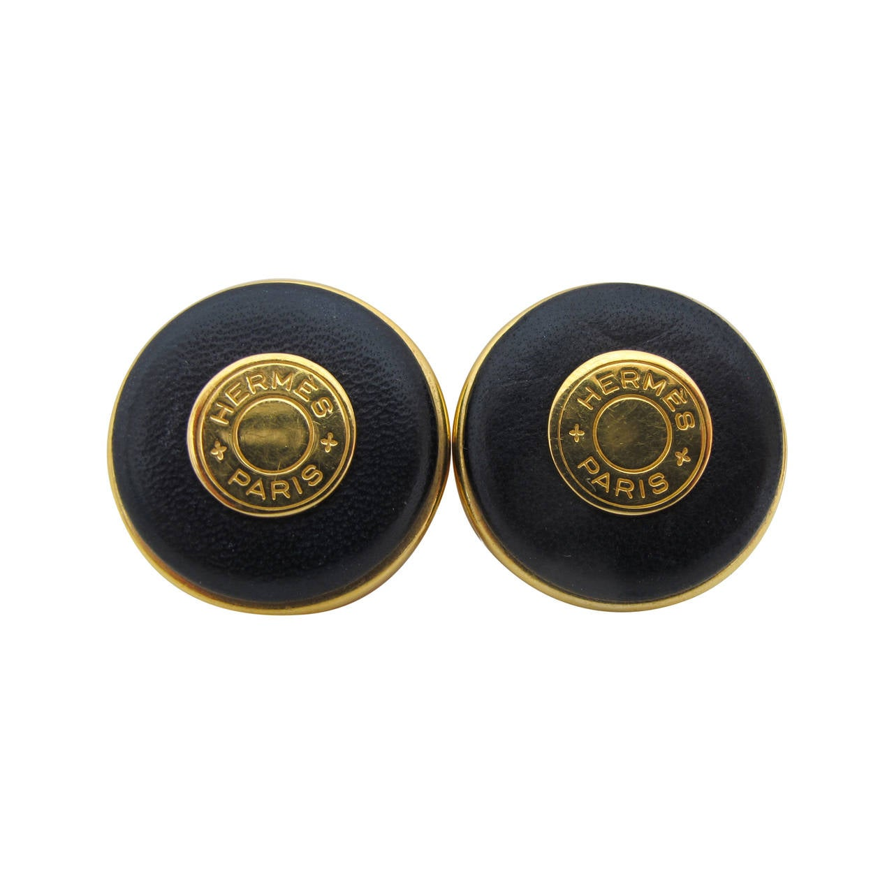 Hermes Rare Vintage Navy Blue Clip-on Earrings with Logo 1