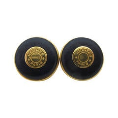Hermes Rare Vintage Navy Blue Clip-on Earrings with Logo