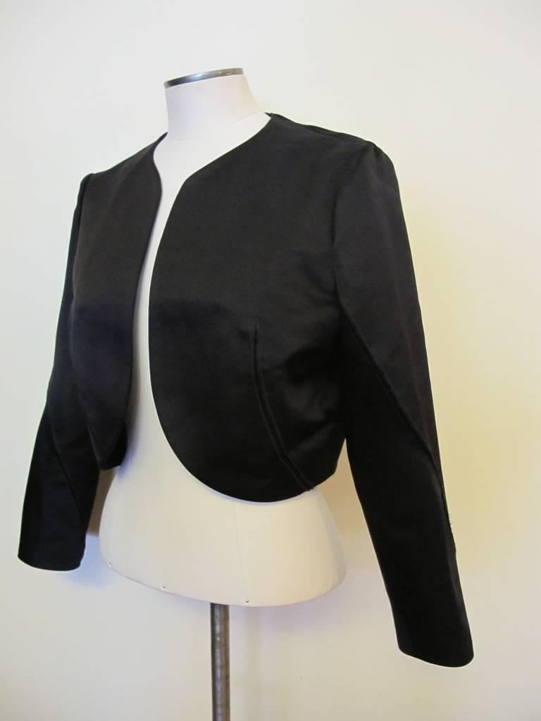 Nina Ricci New Black Satin Bolero Jacket For Sale at 1stdibs