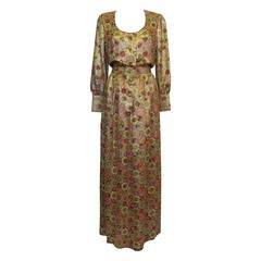 1969 James Galanos Silk Metallic Gown