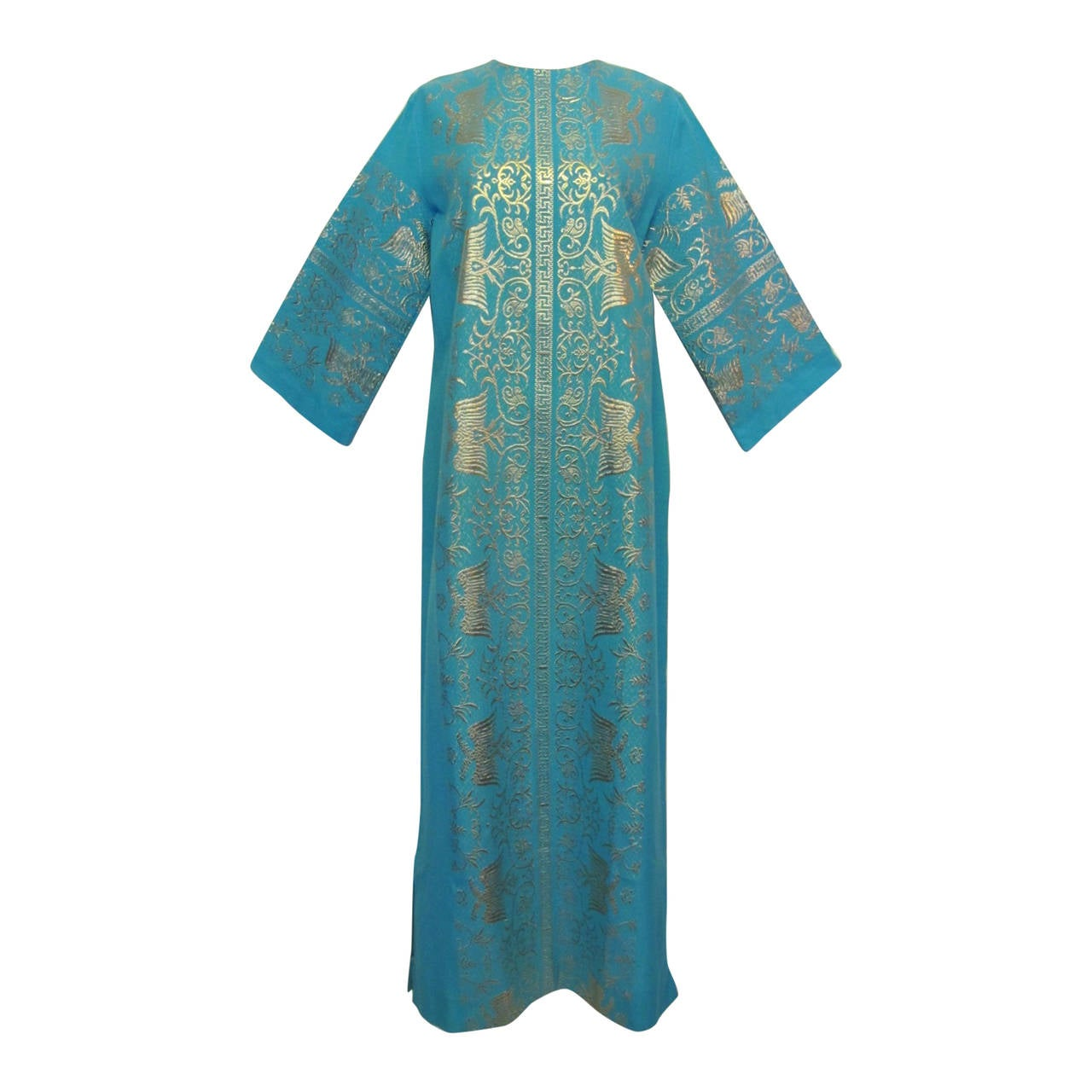new vintage ah haracopoulos turquoise blue caftan at