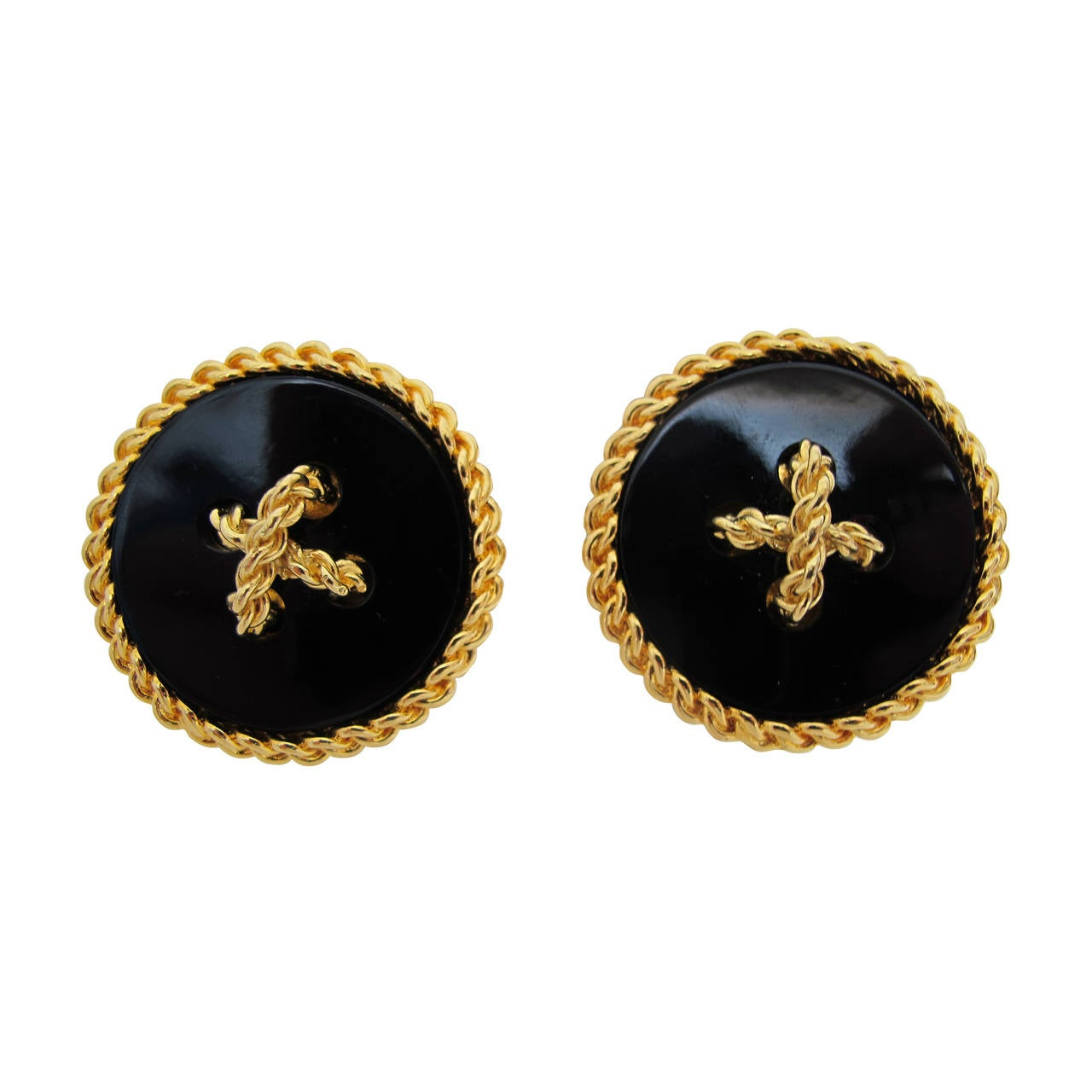 2003 Chanel Gold Chain Over-Sized Circular Black Onyx Clip-On Earrings 1