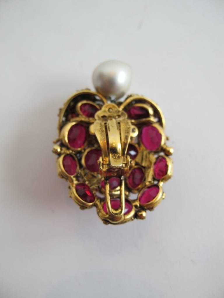 iradj moini statement fake pearl ruby diamond earrings at. Black Bedroom Furniture Sets. Home Design Ideas