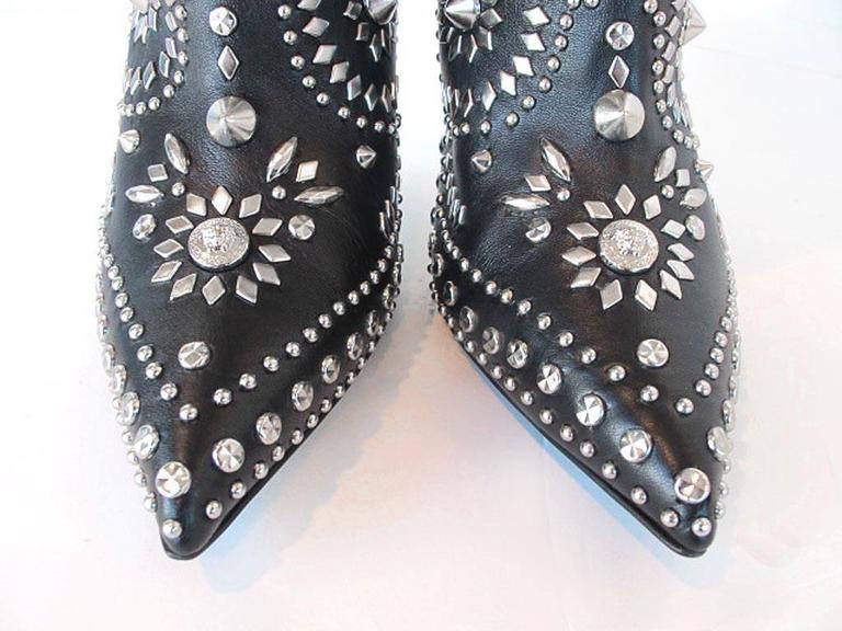 NEW 2013 Gianni Versace Studded Black Leather  Boots 6