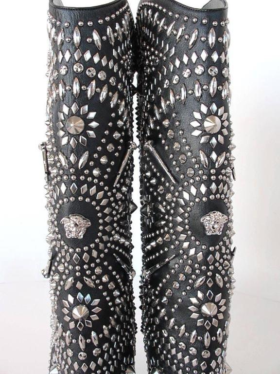 NEW 2013 Gianni Versace Studded Black Leather  Boots 8