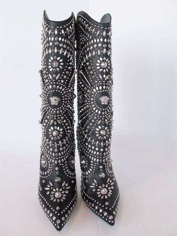 NEW 2013 Gianni Versace Studded Black Leather  Boots 3