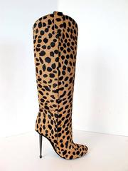 New 2013 Tom Ford Cheetah Boots with Gunmetal Heels