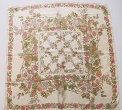 Vintage Liberty of London Beige and Pink Floral Print Scarf
