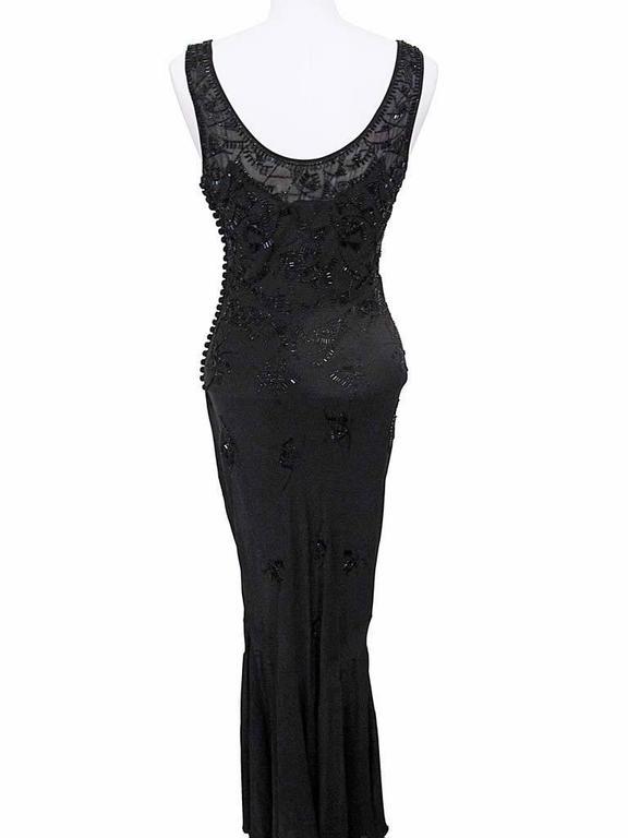 John Galliano for Christian Dior Sleeveless Black Beaded Gown 4