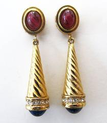 Givenchy Gold-Tone Earring with Faux Ruby and Sapphire Stones