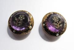 Victorian Amethyst and 14k Gold Cuff Buttons