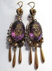 Victorian Amethyst and 14k Gold Earrings