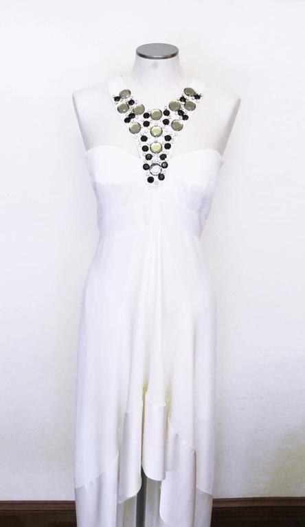 New Versace White Jeweled Halter Evening Gown with Train 2