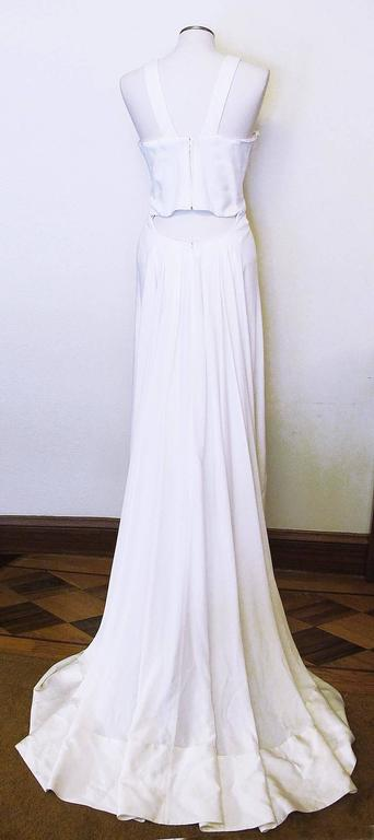 New Versace White Jeweled Halter Evening Gown with Train 5