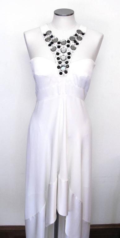 New Versace White Jeweled Halter Evening Gown with Train 4