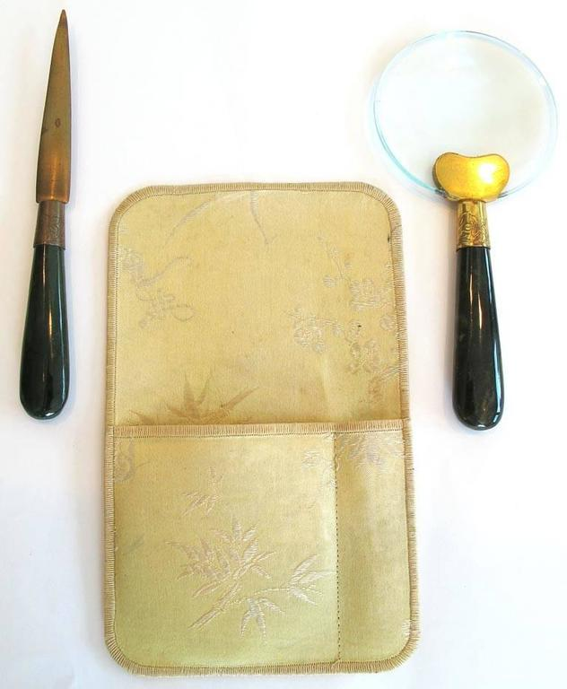 1900's Jade Handled Letter Opener and Magnifying Glass Set 5