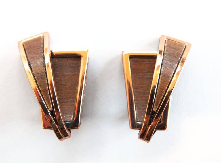 Vintage 1950's Renoir Wood-Grain and Copper Clip Earrings 2