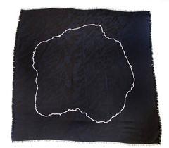 Saint Laurent Rive Gauche Black and White Silk Scarf/Wrap