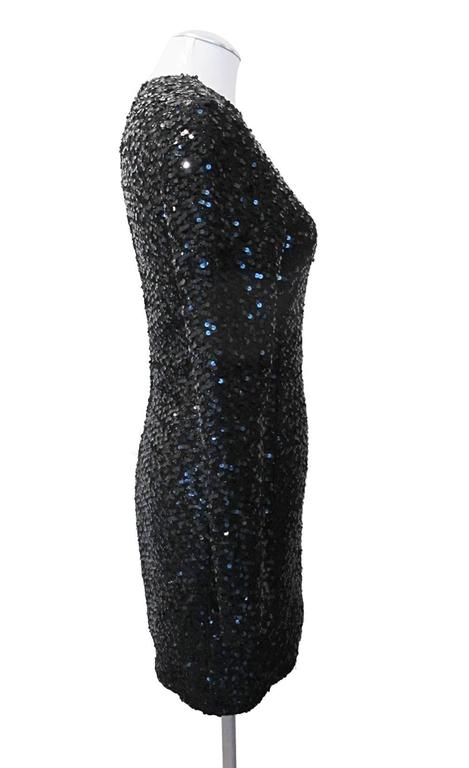 Carolyn Roehm Black Long Sleeve Sequin Cocktail Dress 2