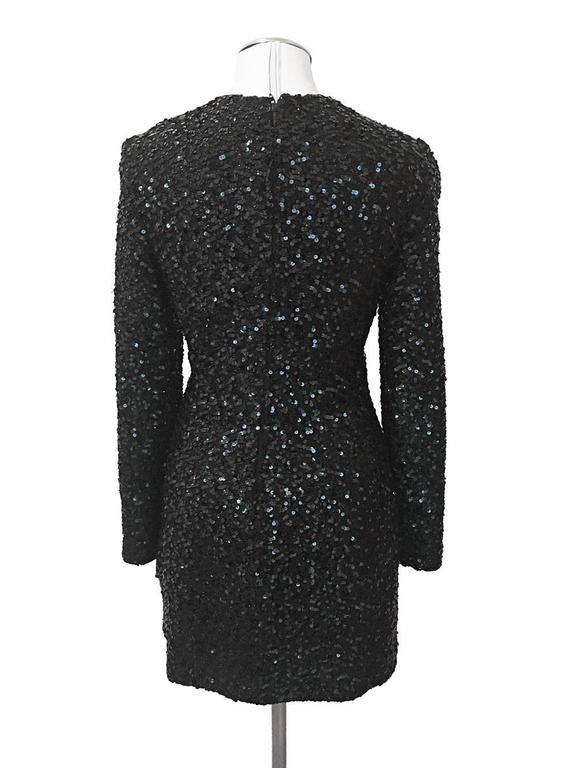 Carolyn Roehm Black Long Sleeve Sequin Cocktail Dress 5