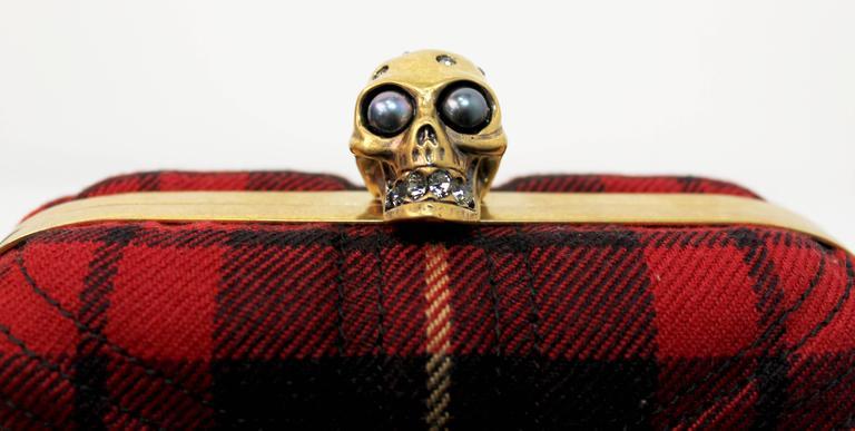 Alexander McQueen Tartan Clutch With Jewelled Skull Closure 2