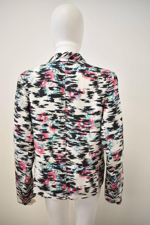 Balenciaga Silk Tiger Print and Floral Blazer Style thin shirt with pointed pane 4
