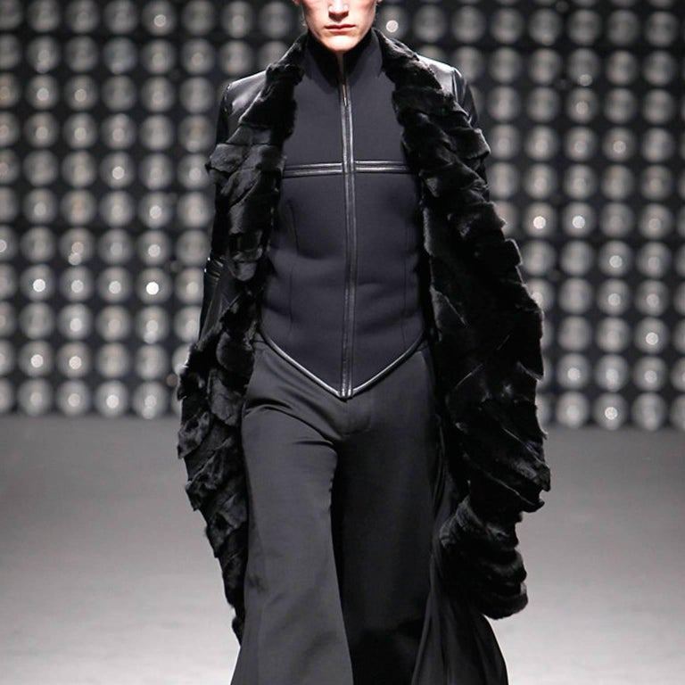 Gareth Pugh Black Open Drape Sheepskin Coat with Diagonal Stripes A/W 11 7
