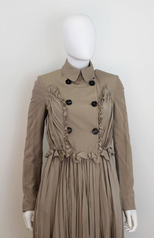 Burberry Prorsum 2010 Silk Coat-Dress with Full Pleated Skirt and Tulle Overlay 5