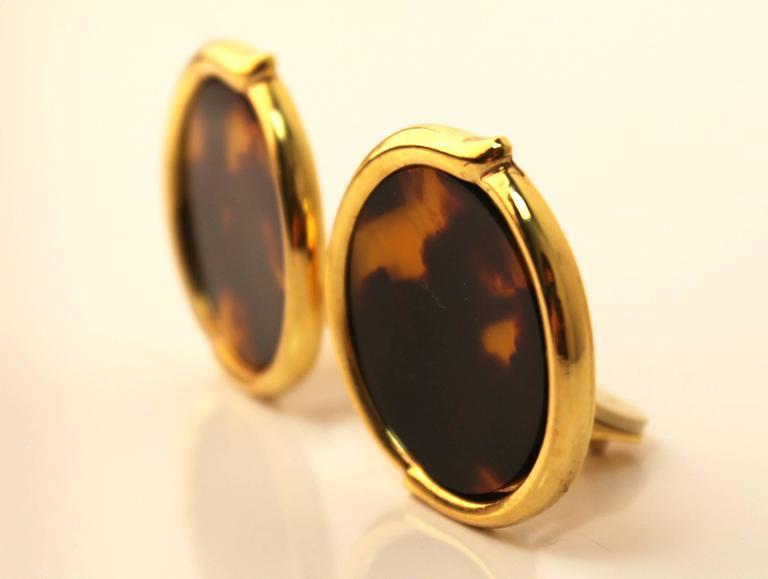 Vintage Yves Saint Laurent Tortoise-Shell Clip-On Earrings 2