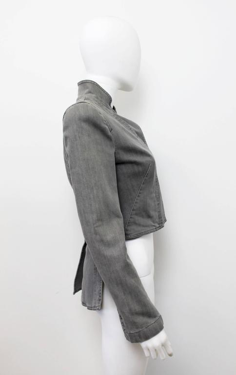 Alexander McQueen Pre 2010 Grey Denim Fitted Riding Jacket With Tails 5