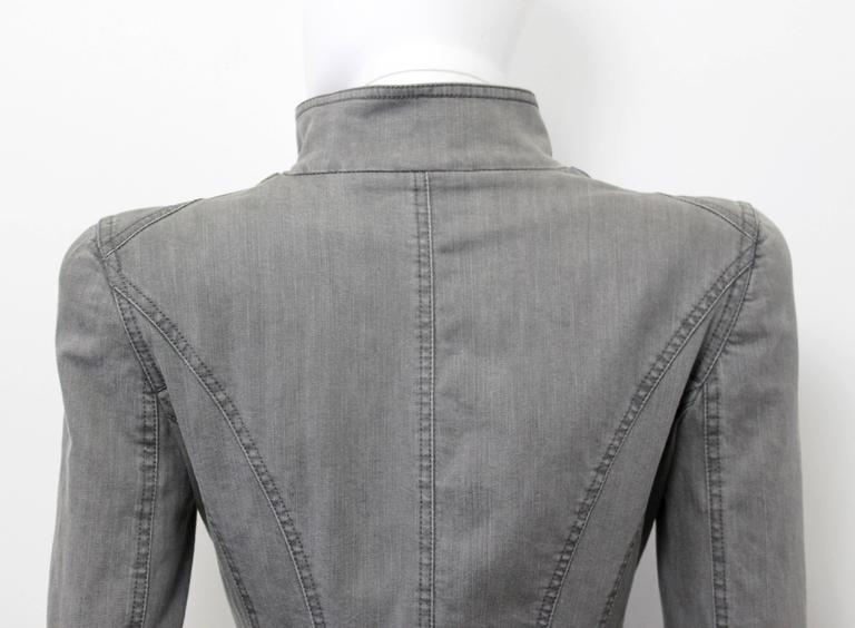 Alexander McQueen Pre 2010 Grey Denim Fitted Riding Jacket With Tails 4