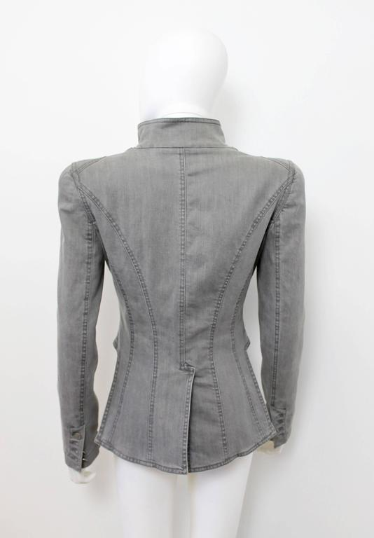Alexander McQueen Pre 2010 Grey Denim Fitted Riding Jacket With Tails 3