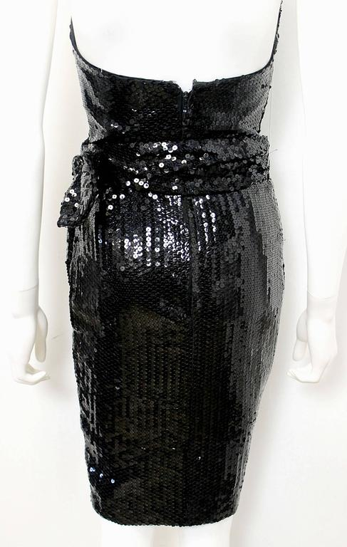 1988 Thierry Mugler Black Wasp Waist Sequin Cocktail Dress 3