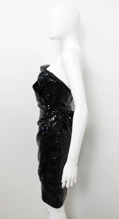 1988 Thierry Mugler Black Wasp Waist Sequin Cocktail Dress 4