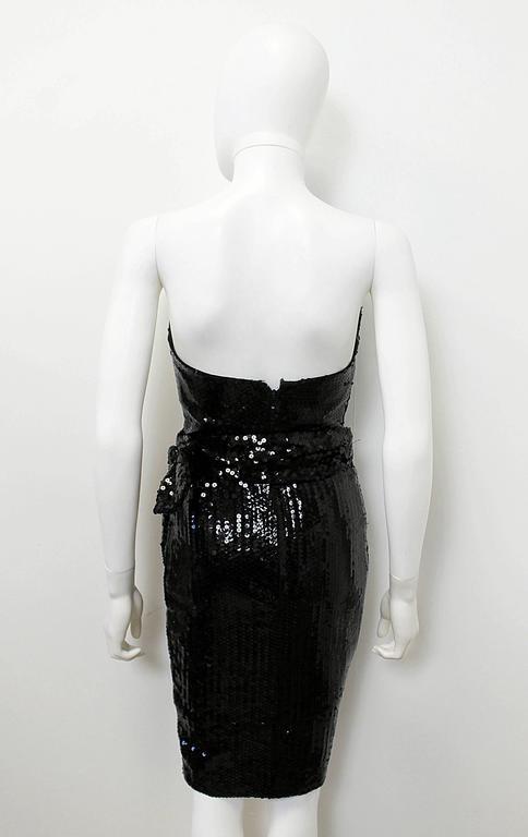 1988 Thierry Mugler Black Wasp Waist Sequin Cocktail Dress 5