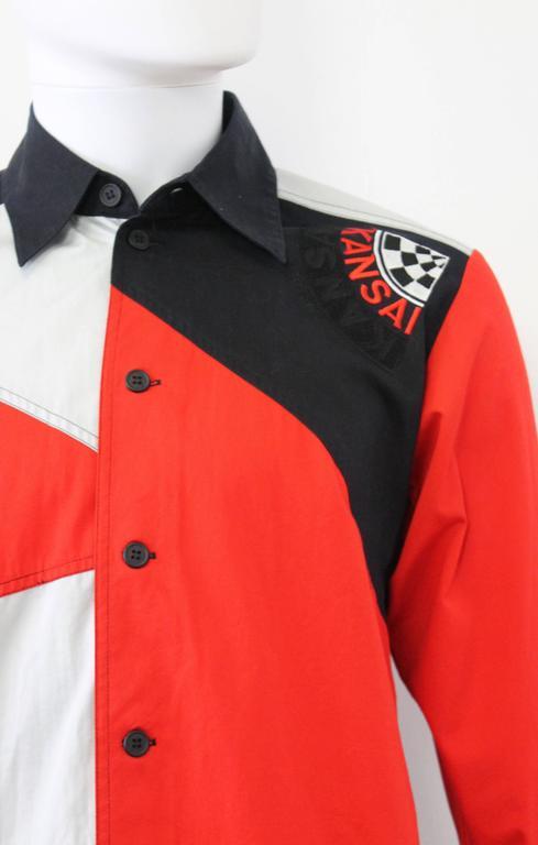 c. 1990 Kansai Yamamoto Geometric Panelled Mens Colour Block Embroided Shirt  2