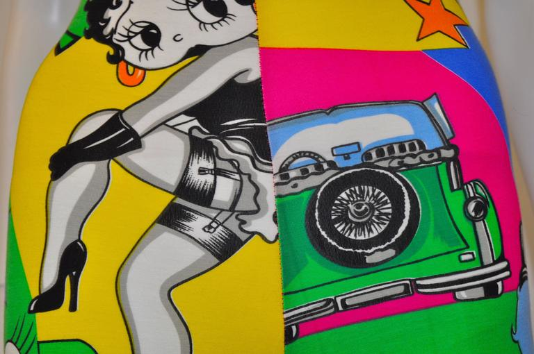 1991 Gianni Versace Betty Boop Colour Block High Waisted Print Leggings 2