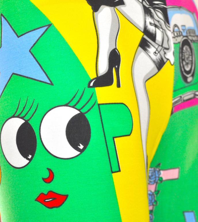 1991 Gianni Versace Betty Boop Colour Block High Waisted Print Leggings 4