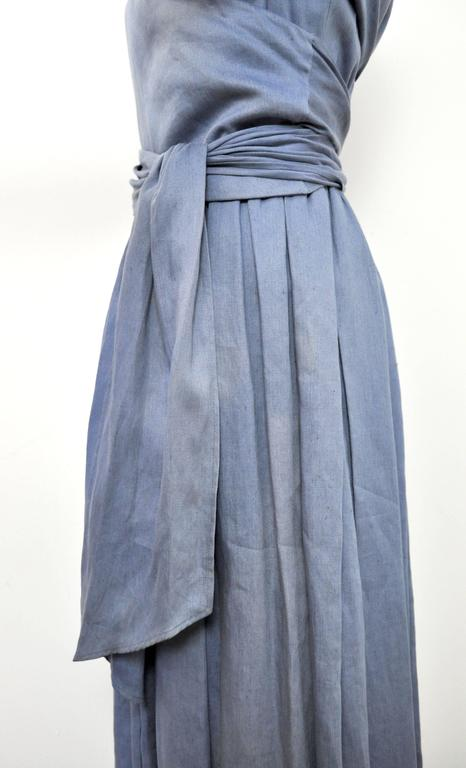 C 1980 Hermes Linen Light Blue Tea Dress With Wrap Belt At