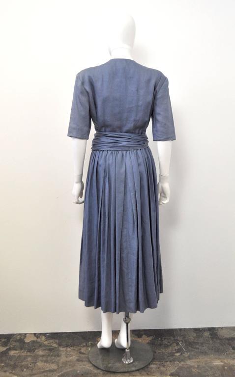 c.1980 Hermes Linen Light Blue Tea Dress with Wrap Belt  3