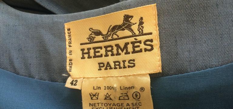 c.1980 Hermes Linen Light Blue Tea Dress with Wrap Belt  4