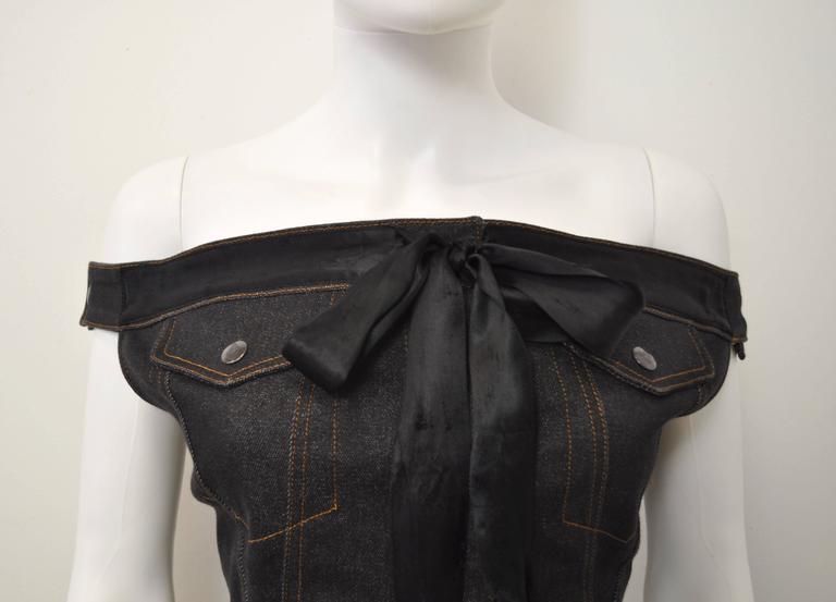 1987 Jean-Paul Gaultier Junior  deconstructed 'Victorian Jean Jacket' corset top 2