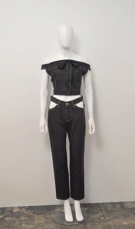 1987 Jean-Paul Gaultier Junior  deconstructed 'Victorian Jean Jacket' corset top 3